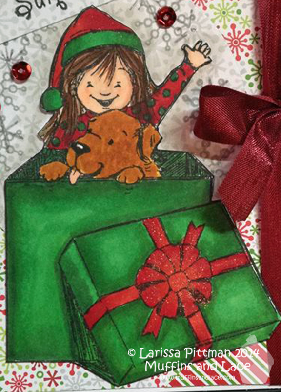 Designed by Lairssa Pittman of Muffins and Lace using Unity Stamp Co stamp Christmas Surprise close up