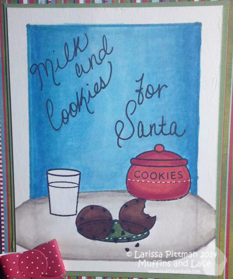 Designed by Larissa Pittman of Muffins and Lace using Lawn Fawn Stamp Milk and Cookies closeup