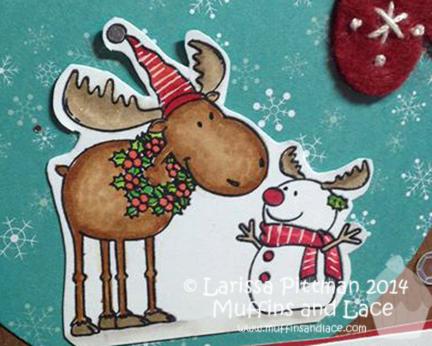 Designed by Larissa Pittman of Muffins and Lace using There She Goes Stamps Merry Christmoose closeup