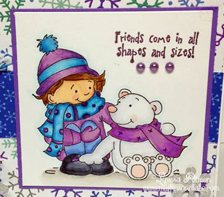 Designed by Larissa Pittman of Muffins and Lace using Kraftin Kimmie stamp Snow Much Fun closeup
