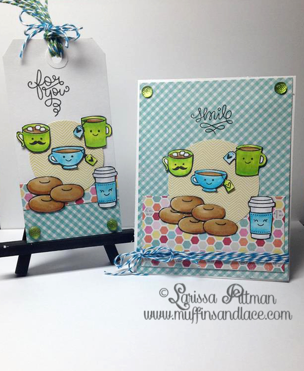 Designed by Larissa Pittman of Muffins and Lace using Lawn Fawn set Love you Latte stamp set