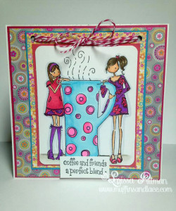 Designed by Larissa Pittman of Muffins and Lace using Stamping Bella stamp Clarissa and Camilla share a cafe