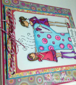Designed by Larissa Pittman of Muffins and Lace using Stamping Bella stamp Clarissa and Camilla share a cafe closeup