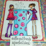 Designed by Larissa Pittman of Muffins and Lace using Stamping Bella stamp Clarissa and Camilla share a cafe closeup of image