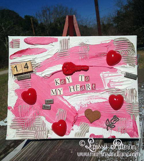 Designed by Larissa Pittman of Muffins and Lace Mixed Media Valentine Canvas using ETI Products