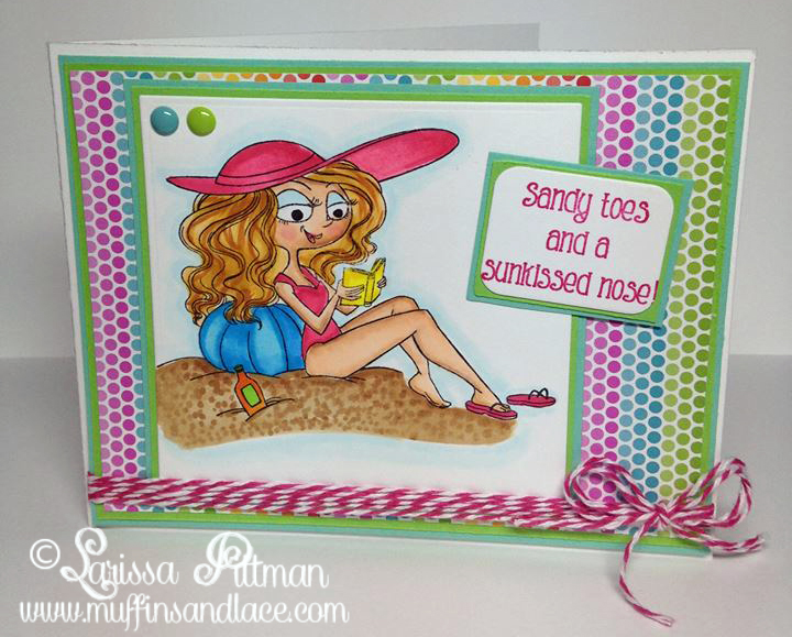 Designed by Larissa Pittman of Muffins and Lace using Kraftin Kimmie Stamps Beachy Keen stamp