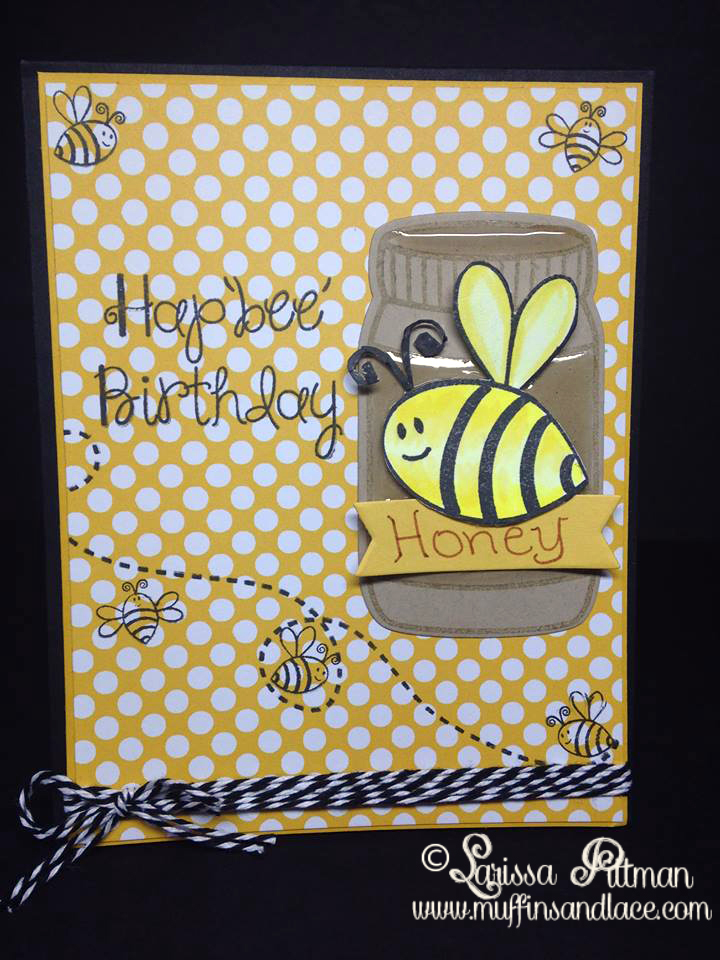 Designed by Larissa Pittman of Muffins and Lace using The Stamps of Life stamp set Bee4me
