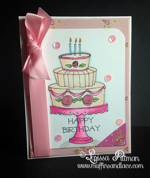 Designed by Larissa Pittman of Muffins and Lace for Paper Wings Productions birthday card with Let's Eat Cake Stamp Set
