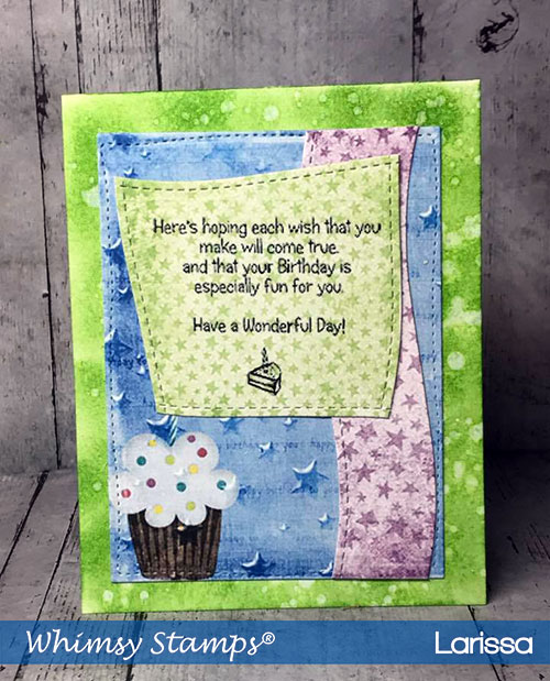Handmade-Card-creating-by-Larissa-Pittman-for-June-Release-for-Whimsy-Stamps-using-Party-Time-paper-and-Birthday-Sentiments