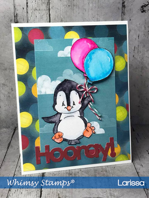 Handmade-Card-creating-by-Larissa-Pittman-for-June-Release-for-Whimsy-Stamps-using-Penguin-Flies